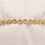 "Estate 10KT 7"" Yellow Gold Heart Bracelet"