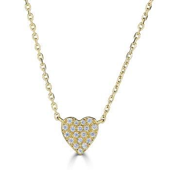 14KT White Gold 0.08tw Diamond Heart Necklace