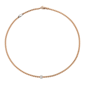 18k Rose / White Gold and Diamond Pave Necklace