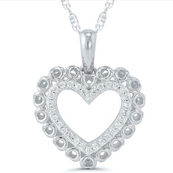 Lady's 10kt White Gold Diamond Heart Pendant & Chain