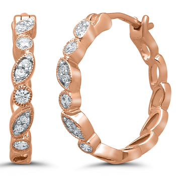 Pair of 10k Rose Gold Diamond Huggies