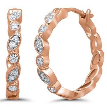 Pair of 10k Rose Gold Diamond Huggies
