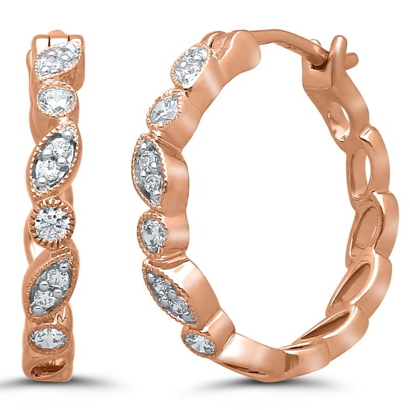 Best Sellers Pair of 10k Rose Gold Diamond Huggies
