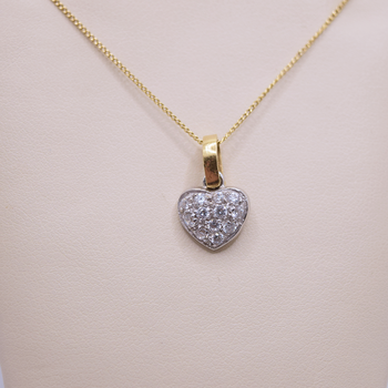 18KT yellow and white gold CZ Heart Necklace