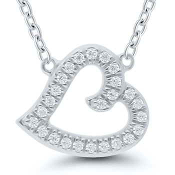 Lady's Sterling Silver Diamond Heart Necklace