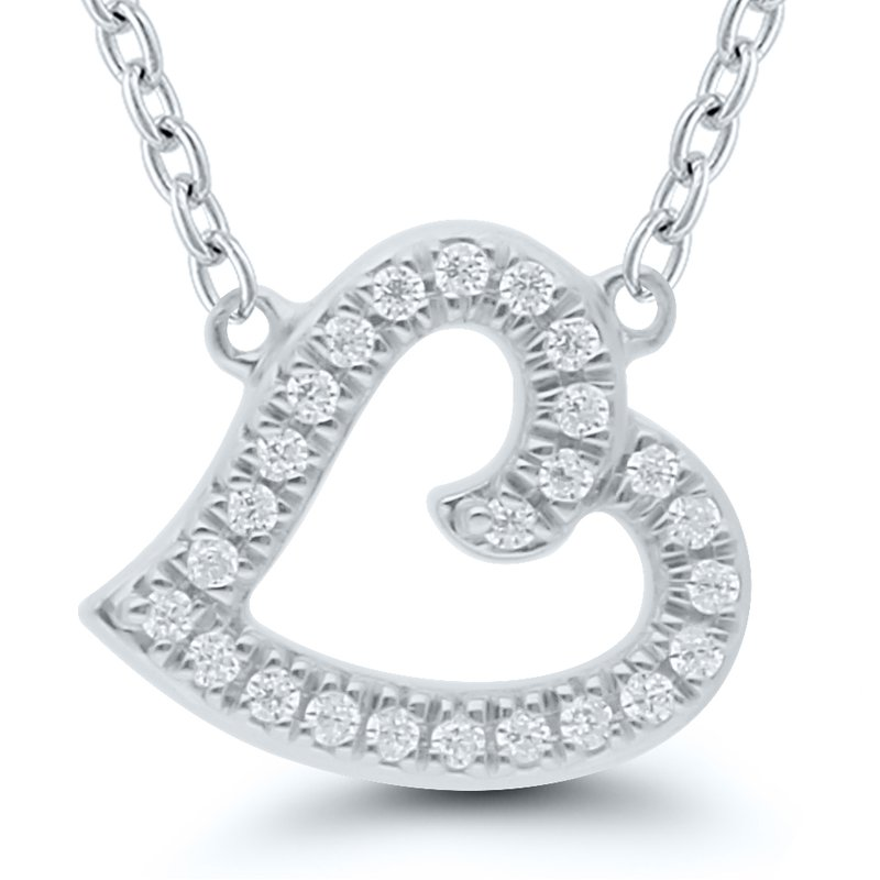 Best Sellers Lady's Sterling Silver Diamond Heart Necklace