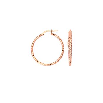 10KT Rose Gold Diamond Cut Tube Hoop Earrings