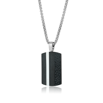 Stainless Steel Carbon Fibre Dog Tag and Chain