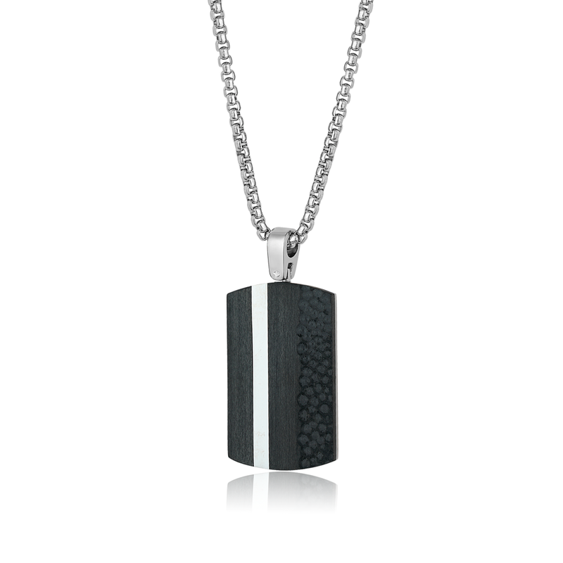 Best Sellers Stainless Steel Carbon Fibre Dog Tag and Chain