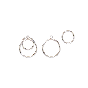 Sterling Silver/Rhodium Plated Double Circle Jacket Earrings