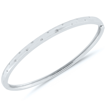 Lady's Sterling Silver and Diamond Bangle