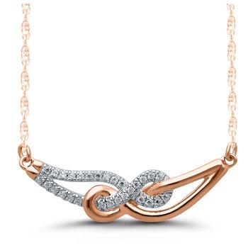 Lady's Infinity 10k Rose Gold Diamond Necklace