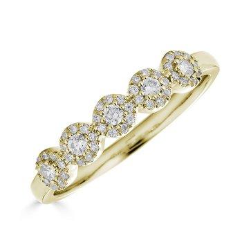 14KT Yellow Gold 0.25tw Diamond, Multi 'Halo' Ring