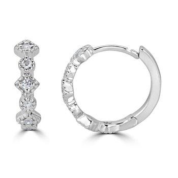 14KT White Gold 0.12tw Diamond Hoop Earrings