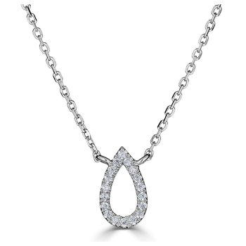 14KT White Gold 0.06tw Diamond Pear Drop Necklace