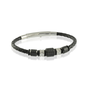 Stainless Steel Beaded Black Leather Bracelet