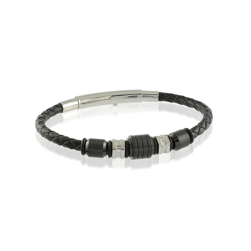 Best Sellers Stainless Steel Beaded Black Leather Bracelet