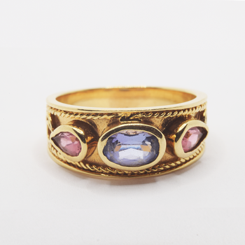 14KT Yellow Gold Pink and Blue Tourmaline Ring