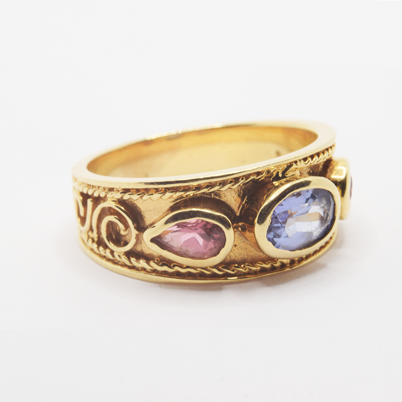 Estate 14KT Yellow Gold Pink and Blue Tourmaline Ring