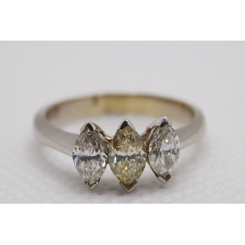 18KT White Gold Yellow Diamond/Diamond Ring