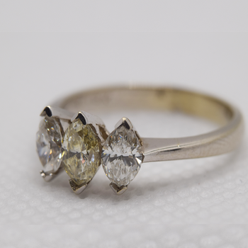 18KT White Gold Yellow Diamond/Diamond Ring