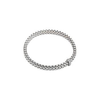 18K White Gold Flex'it Slip-on Bracelet w/ diamonds