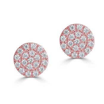 14KT White Gold 0.12tw Diamond Circle Stud Earrings