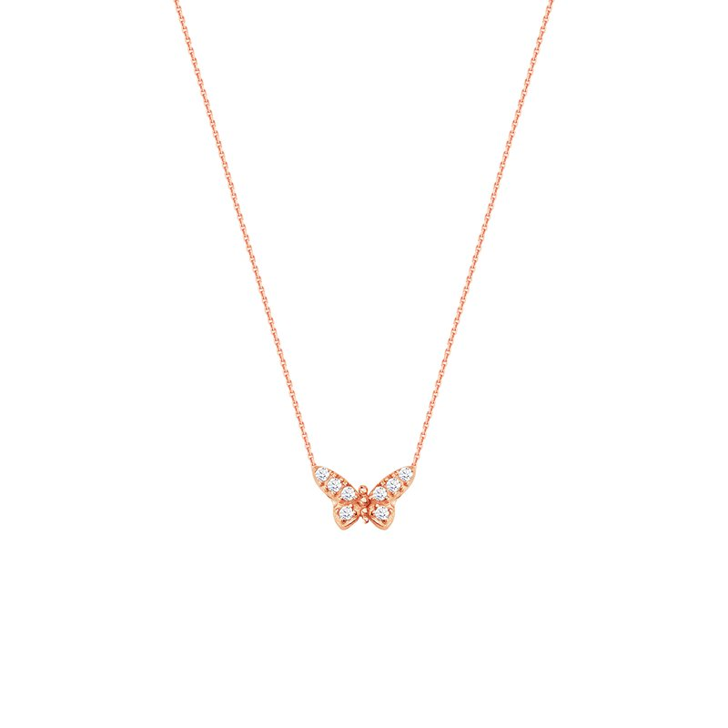 Best Sellers Sterling Silver/Rose Gold Butterfly CZ Necklace
