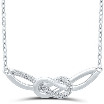 Lady's Infinity Sterling Silver Diamond Necklace