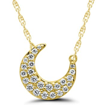 Lady's Half-Moon 10kt Yellow Gold Diamond Necklace
