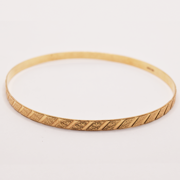 10KT Yellow Gold Patterned Bangle