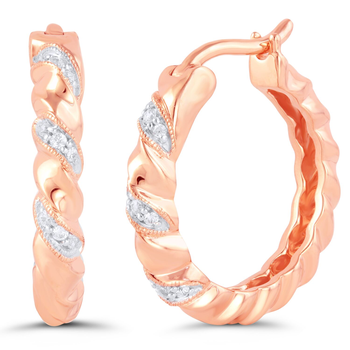Pair of Sterling Silver Rose Gold Plated Diamond Earrings