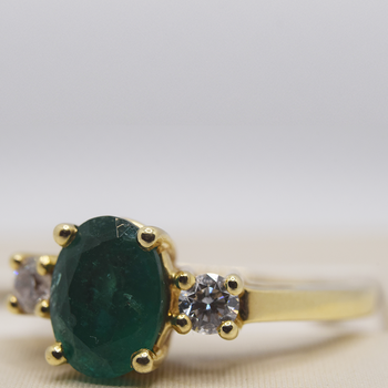 14KT Yellow Gold with Diamonds and Emerald