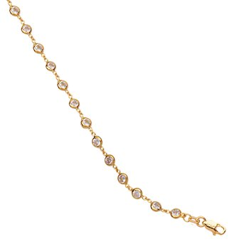 Sterling Silver Bracelet & Yellow Gold Plated with CZ Stones