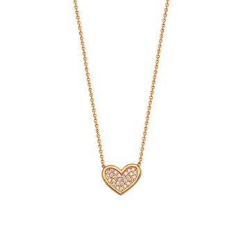 Sterling Silver Rose Gold Plated Cubic Zirconia Heart Necklace