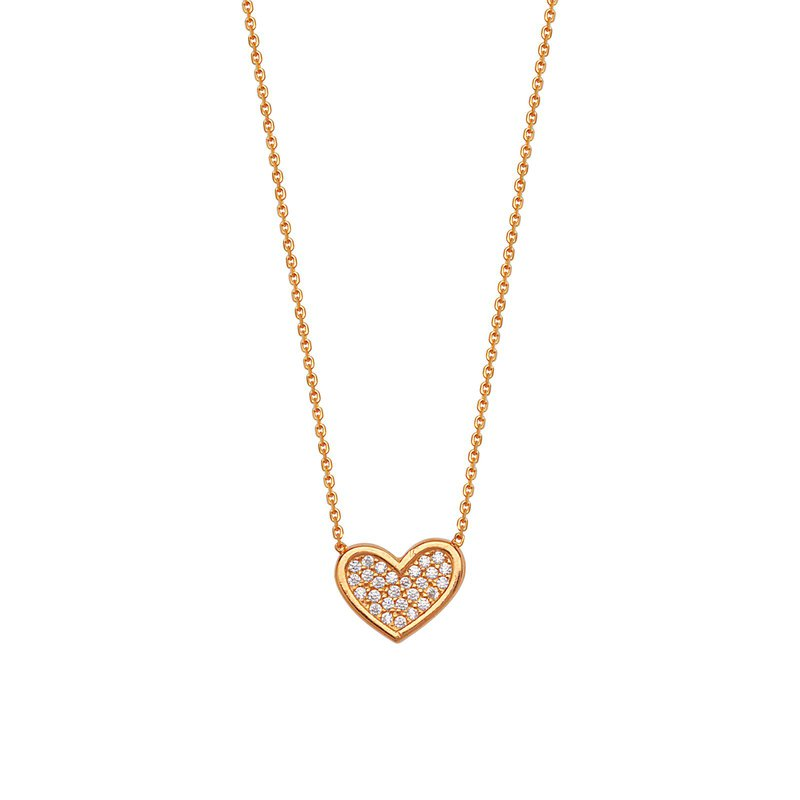 Best Sellers Sterling Silver Rose Gold Plated Cubic Zirconia Heart Necklace
