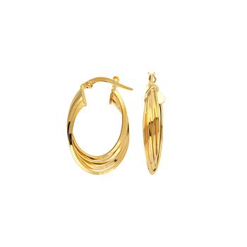 10KT Yellow Gold Triple Twist Oval Hoop Earrings