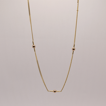 """16"""" 10KT Yellow Gold Ball Station Chain"""