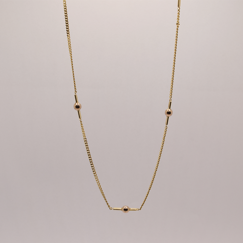 """Estate 16"""" 10KT Yellow Gold Ball Station Chain"""