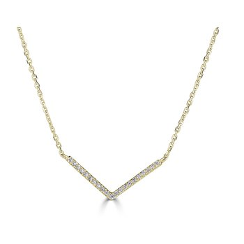 14KT White Gold 0.08tw Diamond 'V' Necklace