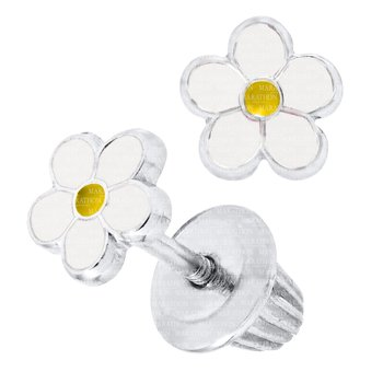 Children's Sterling Silver Enamel Daisy Stud Earrings