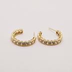 Estate 14KT Yellow Gold Cubic Zirconia Hoop Earring