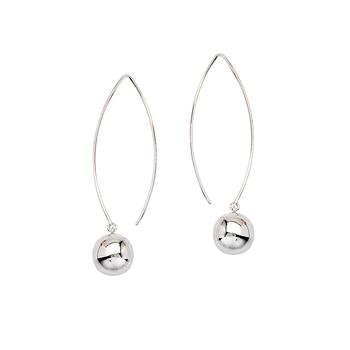 Sterling Silver Long Wire Ball Drop Earrings