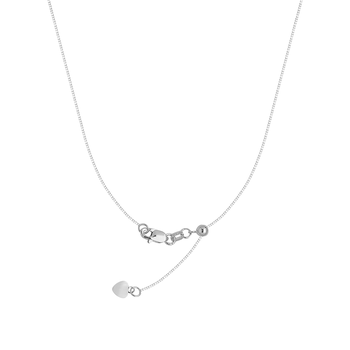 """22"""" Sterling Silver/Rhodium Plated Adjustable Box Chain"""