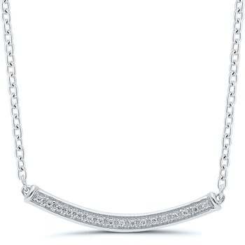 Lady's Sterling Silver Diamond Bar Necklace