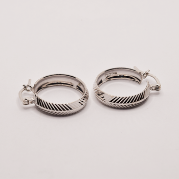 10KT White Gold Pattern Hoop Earrings
