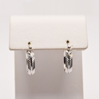 Estate 10KT White Gold Pattern Hoop Earrings