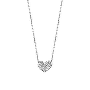 "Sterling Silver Heart Necklace with 18"" Chain"