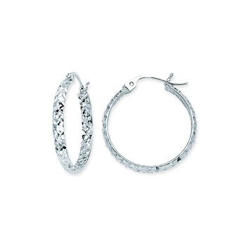 Sterling Silver 30mm Diamond Cut Hoop Earrings