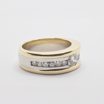 10KT Yellow and White Gold Ring with Diamonds